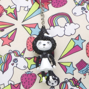 Zip and Zoe by Babymel Kid's backpack age 3+ unicorn, close up of Zoe keychain | unicorn backpack | school bags for girls | backpacks for girls | kids school bags | kids backpacks