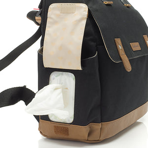 Babymel convertible changing bag , Robyn Black, side view showing wipes dispenser pocket, backpack unisex changing bag, rucksack bag baby bag