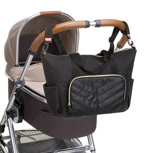BABYMEL AMBER BLACK | CHANGING BAG | COMES WITH STROLLER CLIPS FOR PRAM ATTACHMENT