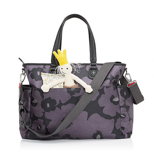 Babymel changing bag Bella Floral Grey, back view with baby items in pocket, grey and purple changing bag, handbag.