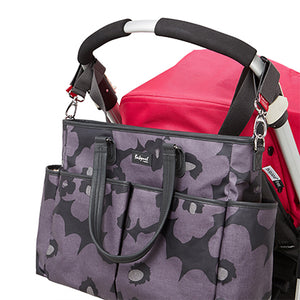 Babymel changing bag Bella Floral Grey, bag attached to pram, grey and purple changing bag, handbag.