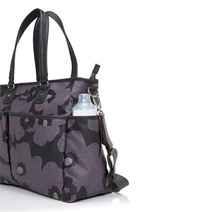 Babymel changing bag Bella Floral Grey, side view bottle pocket, grey and purple changing bag, handbag.