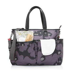 Babymel changing bag Bella Floral Grey, front view with baby items in pockets, grey and purple changing bag, handbag.