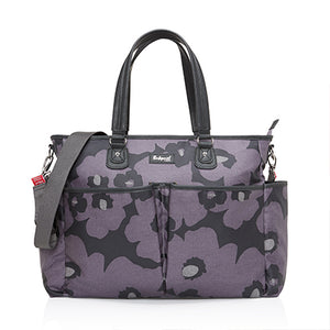 Babymel changing bag Bella Floral Grey, front view, grey and purple changing bag, handbag.