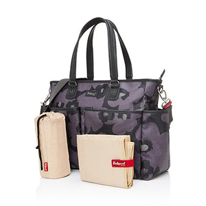 Babymel changing bag Bella Floral Grey, front view with thermal bottle holder, changing mat + stroller clips, grey and purple changing bag, handbag.