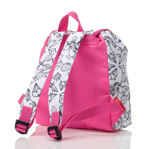 Zip and Zoe by Babymel colour & wash backpack, unicorn, back view | unicorn backpack | school bags for girls | kids backpacks | kids colouring