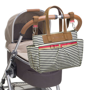 Babymel changing bag Cara stripe navy, changing bag attached to pram, printed stripe changing bag, handbag, shoulder bag.