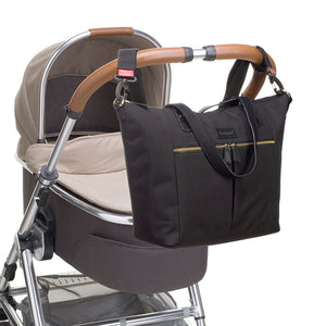 Babymel changing bag tote,  Dani Black, changing bag attached to pram, black with gold changing bag handbag.