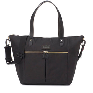 Babymel changing bag tote,  Dani Black, front view, black with gold changing bag handbag.