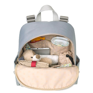Babymel Gabby Pale Grey Backpack Changing Bag l Open with baby items
