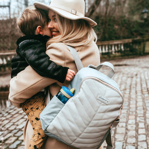 gabby backpack pale grey | babymel | changing bag | mother and baby | vegan leather