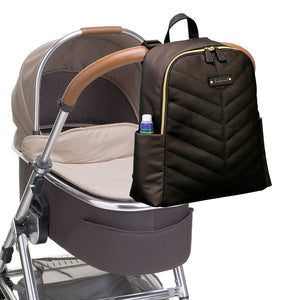 Babymel changing bag backpack,  Gabby Black, changing bag attached to pram, black with gold changing bag, chevron quilt
