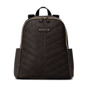 Babymel changing bag backpack,  Gabby Black, front view, black with gold changing bag, chevron quilt