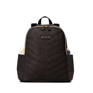 Babymel changing bag backpack,  Gabby Black, front view with milk bottles in side pockets, black with gold changing bag, chevron quilt