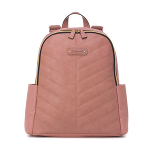 Babymel changing bag backpack, Gabby dusty pink, front view, pink with gold changing bag, chevron quilt