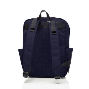Babymel changing bag backpack, George Navy Black, back view, padded straps, stroller straps, navy melange changing bag, twin backpack