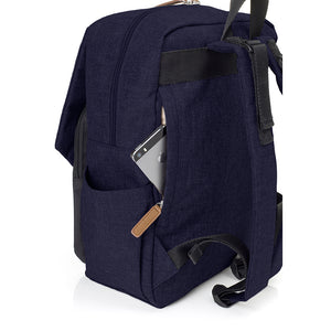 Babymel changing bag backpack, George Navy Black, back view showing concealed phone pocket, navy melange changing bag, twin backpack