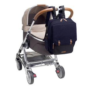 Babymel changing bag backpack, George Navy Black, backpack attached to pram, navy melange changing bag, twin backpack