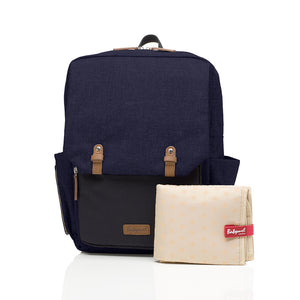 Babymel changing bag backpack, George Navy Black, front view with changing mat, navy melange changing bag, twin backpack