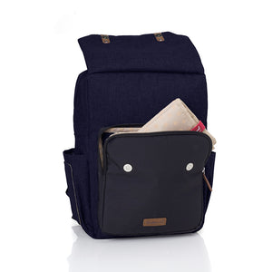 Babymel changing bag backpack, George Navy Black, front view with changing mat in front pocket, navy melange changing bag, twin backpack