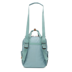 Babymel changing bag convertible backpack, Georgi Aqua, back view showing shoulder bag, recycled material, blue unisex changing bag