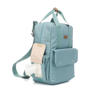 Babymel changing bag convertible backpack, Georgi Aqua, side view with baby wipes pocket, recycled material, blue unisex changing bag