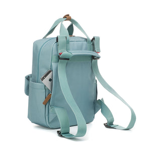 Babymel changing bag convertible backpack, Georgi Aqua, back view showing backpack straps and concealed phone pocket, recycled material, blue unisex changing bag