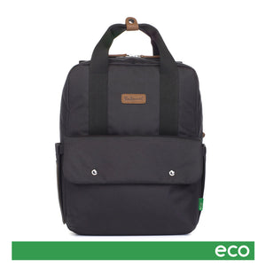 Babymel eco changing bag convertible backpack, Georgi Black, front view, recycled material, black unisex changing bag