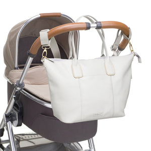 Babymel changing bag Roxy vegan leather pale grey, attached to pram, faux leather PU changing bag, changing bag handbag, grey, pale gold