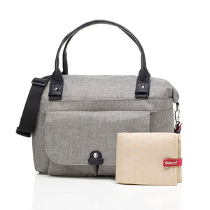 Babymel changing bag, Jade Grey, front view + changing mat, grey melange, handbag baby bag