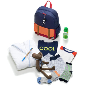 Zip and Zoe by Babymel Junior backpack navy colour block, with dressing gown, clothes, water bottle and teddy | school bags for boys | boys backpack | school bags for girls | backpacks for girls | kids school bags | kids backpacks