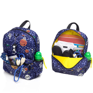 Zip and Zoe by Babymel Junior backpack spaceman, front pocket and main compartment open and filled with books, pencil case, snacks and water bottle | school bags for boys | boys backpack | school bags for girls | backpacks for girls | kids school bags | kids backpacks