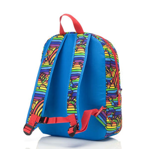 Zip and Zoe by Babymel Junior backpack rainbow multi, back view | school bags for boys | boys backpack | school bags for girls | backpacks for girls | kids school bags | kids backpacks