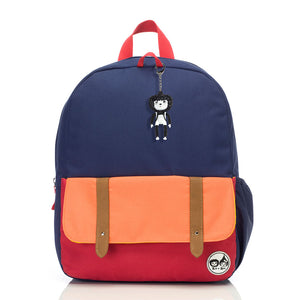 Zip and Zoe by Babymel Junior backpack navy colour block, front view | school bags for boys | boys backpack | school bags for girls | backpacks for girls | kids school bags | kids backpacks