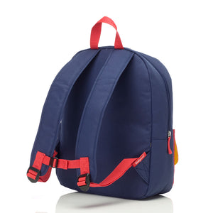 Zip and Zoe by Babymel Junior backpack navy colour block, back view | school bags for boys | boys backpack | school bags for girls | backpacks for girls | kids school bags | kids backpacks