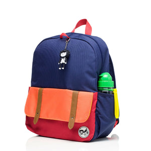 Zip and Zoe by Babymel Junior backpack navy colour block, front side view | school bags for boys | boys backpack | school bags for girls | backpacks for girls | kids school bags | kids backpacks