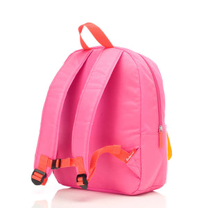 Zip and Zoe by Babymel Junior backpack bright pink colour block, back view | school bags for girls | backpacks for girls | kids school bags | kids backpacks