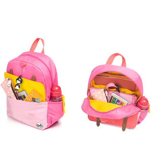 Zip and Zoe by Babymel Junior backpack bright pink colour block, front pocket and main compartment open and filled with books, pencil case, snacks and water bottle | school bags for girls | backpacks for girls | kids school bags | kids backpacks