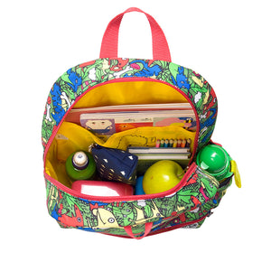 Zip and Zoe by Babymel Junior backpack dino multi, open view, filled with books, pencil case and snacks | dinosaur backpack | school bags for boys | boys backpack | school bags for girls | backpacks for girls | kids school bags | kids backpacks