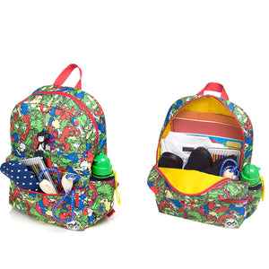 Zip and Zoe by Babymel Junior backpack dino multi, front pocket and main compartment open and filled with books, pencil case, snacks and water bottle| dinosaur backpack | school bags for boys | boys backpack | school bags for girls | backpacks for girls | kids school bags | kids backpacks