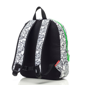 Zip and Zoe by Babymel Junior backpack dino black & white, back view | dinosaur backpack | school bags for boys | boys backpack | school bags for girls | backpacks for girls | kids school bags | kids backpacks