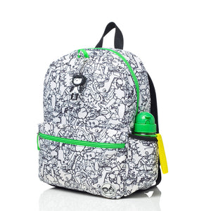 Zip and Zoe by Babymel Junior backpack dino black & white, front side view | dinosaur backpack | school bags for boys | boys backpack | school bags for girls | backpacks for girls | kids school bags | kids backpacks