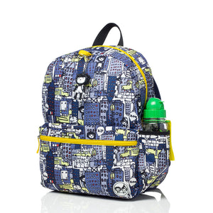 Zip and Zoe by Babymel Junior backpack city print, front side view | school bags for boys | boys backpack | school bags for girls | backpacks for girls | kids school bags | kids backpacks
