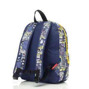 Zip and Zoe by Babymel Junior backpack city print, back view | school bags for boys | boys backpack | school bags for girls | backpacks for girls | kids school bags | kids backpacks