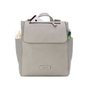Babymel backpack changing bag, Megan Pale Grey vegan leather, front view with filled pockets, Grey faux leather, rucksack baby bag
