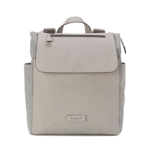 Babymel backpack changing bag, Megan Pale Grey, front view, Grey faux leather, rucksack baby bag