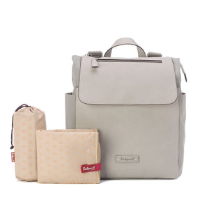 Babymel backpack changing bag, Megan Pale Grey, front view with changing mat and thermal bottle holder, Grey faux leather, rucksack baby bag