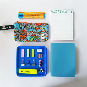 Zip and Zoe by Babymel pencil case robot blue, with notepad, pens and stationery | pencil case | school pencil case | pencil case for boys | pencil case for girls