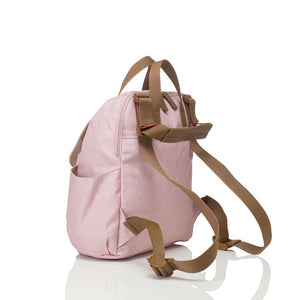 Babymel convertible changing bag , Robyn dusty pink origami heart, back view showing convertible strap, backpack unisex changing bag, rucksack bag baby bag