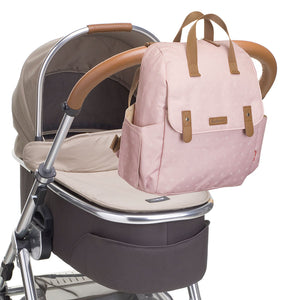 Babymel convertible changing bag , Robyn dusty pink origami heart, bag attached to pram, backpack unisex changing bag, rucksack bag baby bag